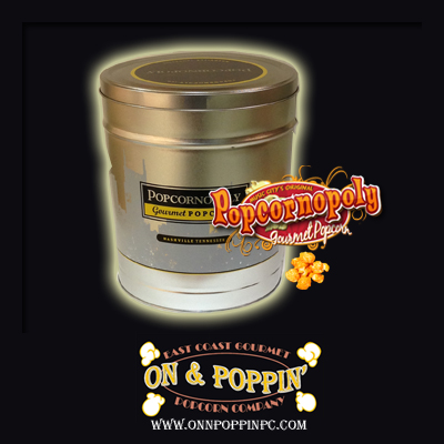 Poppinopoly Decorative Tin - 6.5gal. Container - Cheese Flavored - Click Image to Close